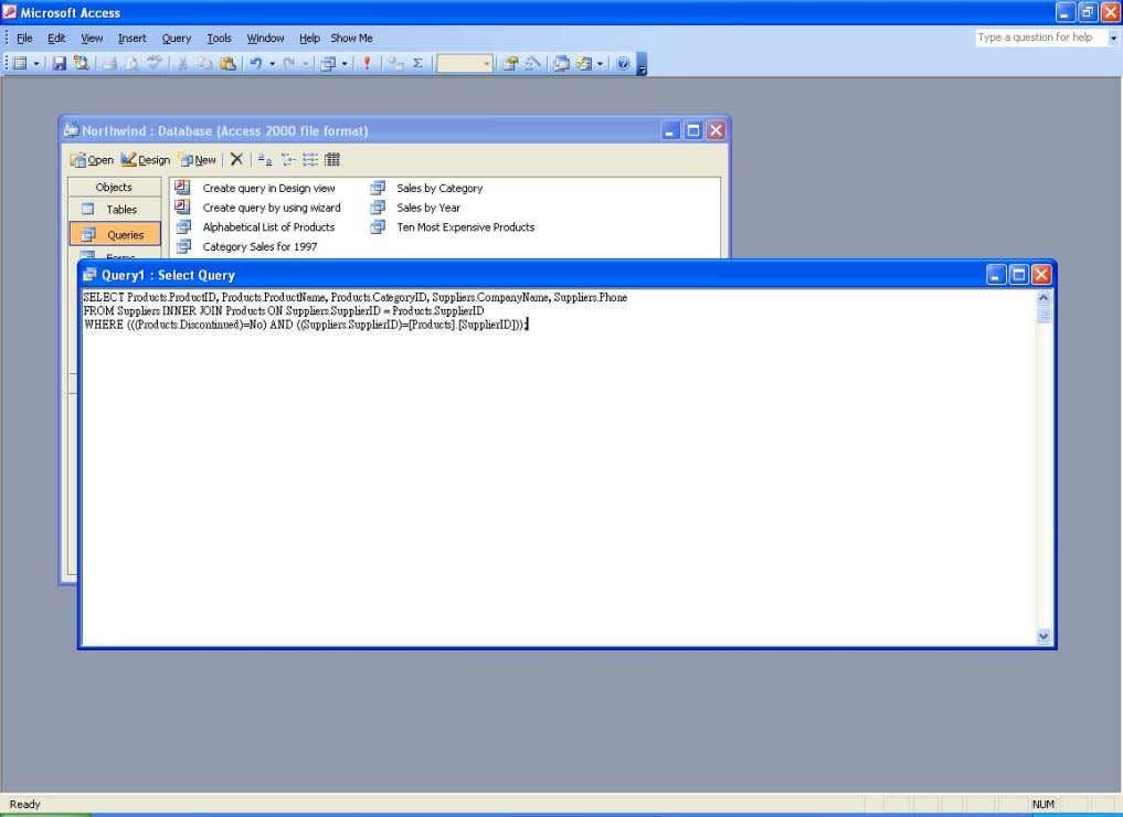 The SQL pasted into the new query SQL view window Simplifying the New Query SQL The