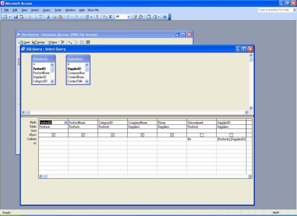 The SQL query in design view Note that the design view of the SQL query is