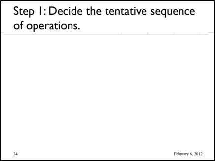Step 1: Decide the tentative sequence of operations. 34 February 6, 2012