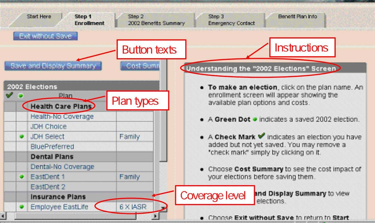 Button texts Instructions Plan types Coverage level