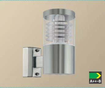 acier inoxydable / verre structuré, clair 93269 BASALGO wall luminaire; stainless steel, stainless steel / plastic,