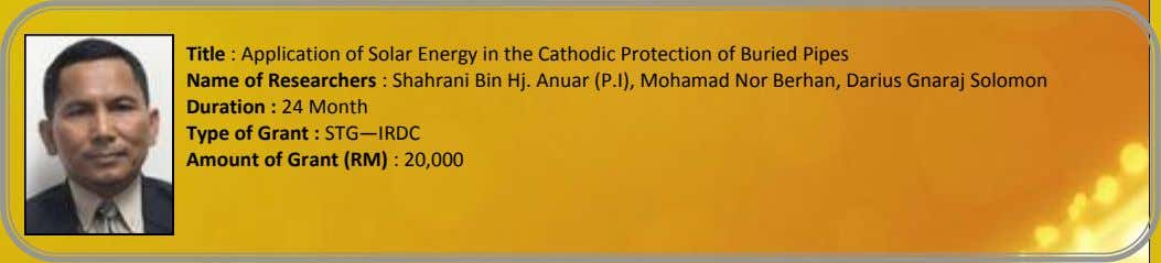 Title : Application of Solar Energy in the Cathodic Protection of Buried Pipes Name of