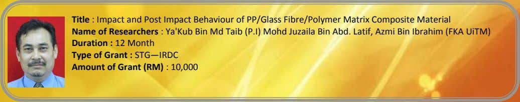 Title : Impact and Post Impact Behaviour of PP/Glass Fibre/Polymer Matrix Composite Material Name of