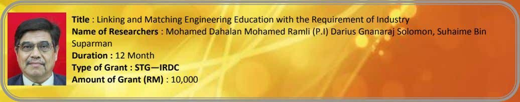 Title : Linking and Matching Engineering Education with the Requirement of Industry Name of Researchers