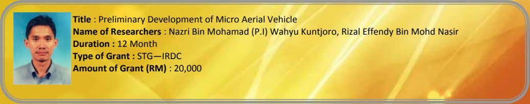 Title : Preliminary Development of Micro Aerial Vehicle Name of Researchers : Nazri Bin Mohamad