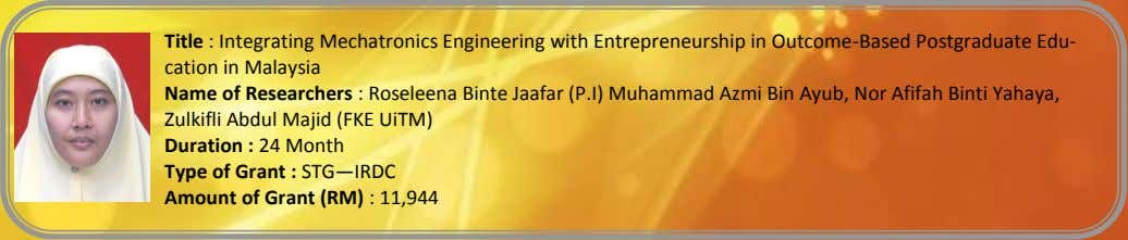 Title : Integrating Mechatronics Engineering with Entrepreneurship in Outcome-Based Postgraduate Edu- cation in Malaysia