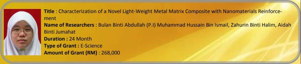 Title : Characterization of a Novel Light-Weight Metal Matrix Composite with Nanomaterials Reinforce- ment Name
