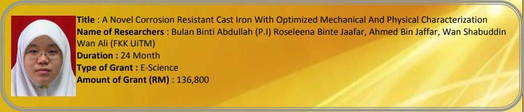 Title : A Novel Corrosion Resistant Cast Iron With Optimized Mechanical And Physical Characterization Name