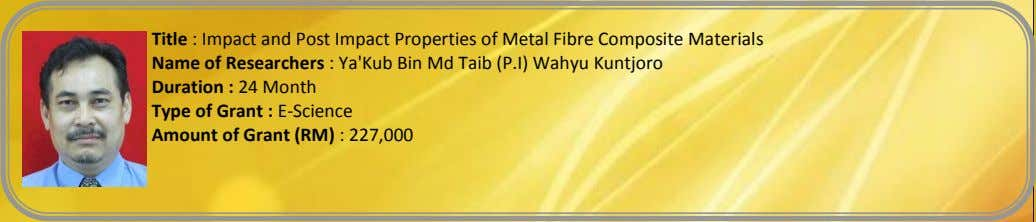 Title : Impact and Post Impact Properties of Metal Fibre Composite Materials Name of Researchers