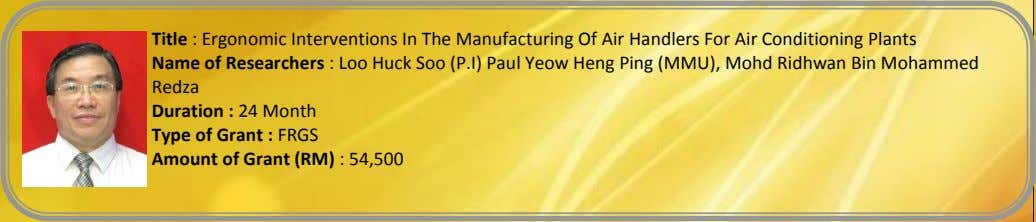 Title : Ergonomic Interventions In The Manufacturing Of Air Handlers For Air Conditioning Plants Name