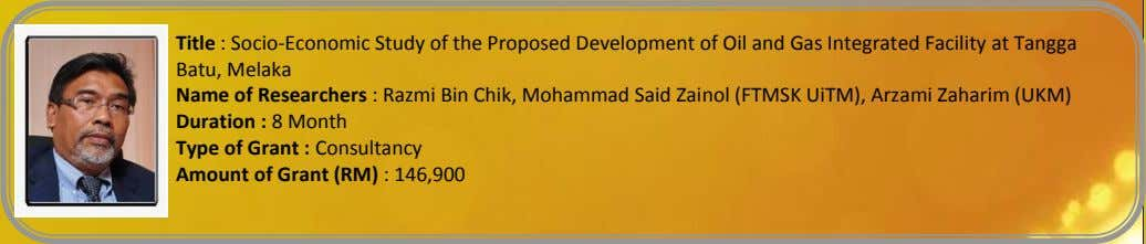 Title : Socio-Economic Study of the Proposed Development of Oil and Gas Integrated Facility at