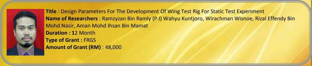 Title : Design Parameters For The Development Of Wing Test Rig For Static Test Experiment