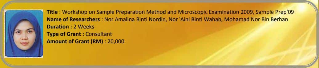 Title : Workshop on Sample Preparation Method and Microscopic Examination 2009, Sample Prep'09 Name of