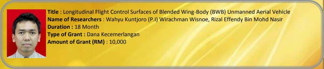 Title : Longitudinal Flight Control Surfaces of Blended Wing-Body (BWB) Unmanned Aerial Vehicle Name of