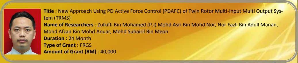 Title : New Approach Using PD Active Force Control (PDAFC) of Twin Rotor Multi-Input Multi