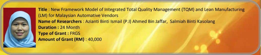 Title : New Framework Model of Integrated Total Quality Management (TQM) and Lean Manufacturing (LM)
