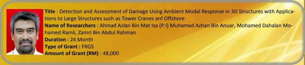 Title : Detection and Assessment of Damage Using Ambient Modal Response in 3D Structures with