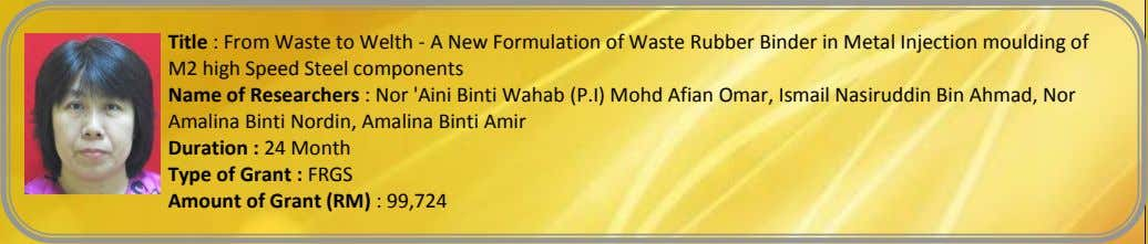 Title : From Waste to Welth - A New Formulation of Waste Rubber Binder in