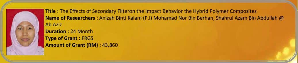 Title : The Effects of Secondary Filteron the Impact Behavior the Hybrid Polymer Composites Name