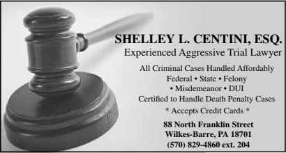 SHELLEY L. CENTINI, ESQ. Experienced Aggressive Trial Lawyer All Criminal Cases Handled Affordably Federal •