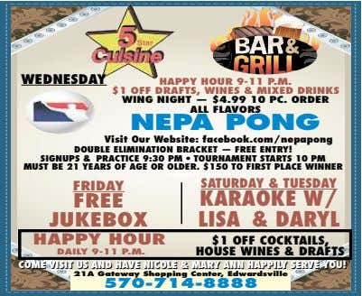 WEDNESDAY HAPPY HOUR 9-11 P.M. $1 OFF DRAFTS, WINES & MIXED DRINKS WING NIGHT —