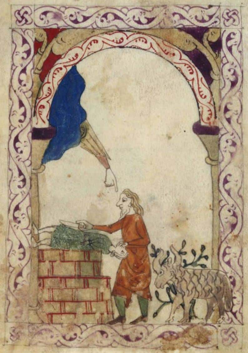Abrahams Opfer 7 9: Opfer Abrahams, London, British Library Or. MS 2737, f. 93v.