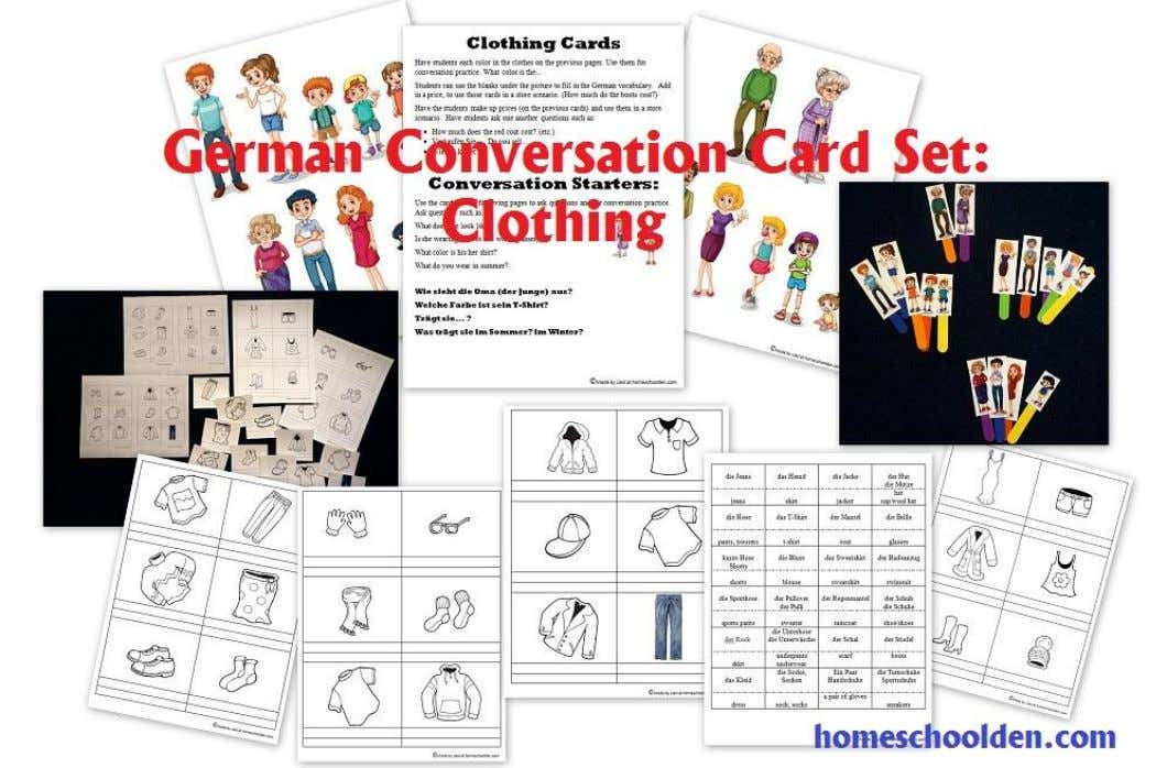 about what you are wearing. Practice purchasing clothing with this clothing packet: die Kleidung – Clothing
