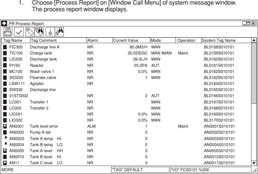 1. Choose [Process Report] on [Window Call Menu] of system message window. The process report