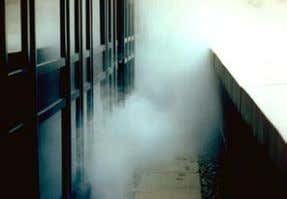 bridging and (warm) air leakage. Source: Prof. R. Lowe. Undergoing a smoke test under pres- surisation