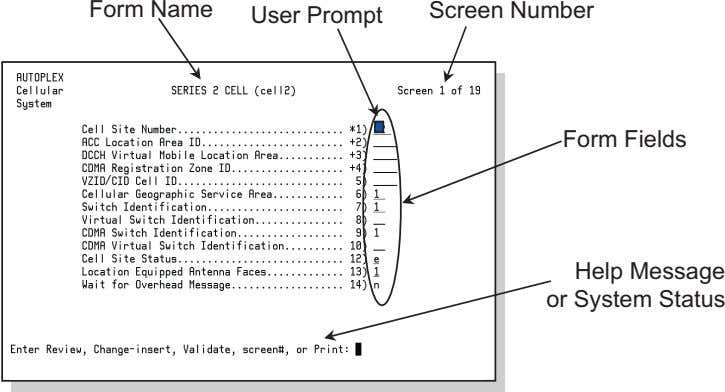 Form Name User Prompt Screen Number Form Fields Help Message or System Status