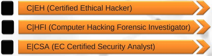 C|EH (Certified Ethical Hacker) C|HFI (Computer Hacking Forensic Investigator) E|CSA (EC Certified Security Analyst)