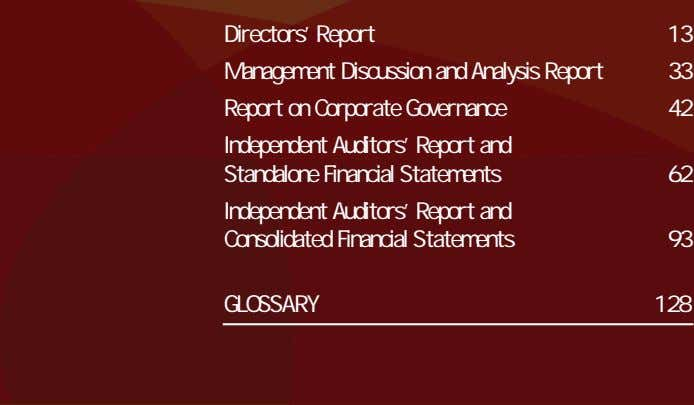01 Directors' Report 13 Management Discussion and Analysis Report 33 02 Report on Corporate Governance