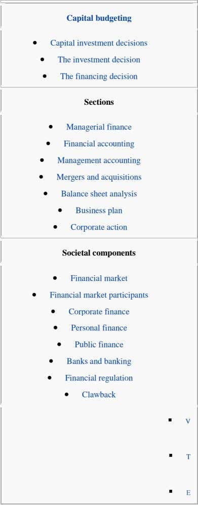 Capital budgeting    Capital investment decisions The investment decision The financing decision Sections 