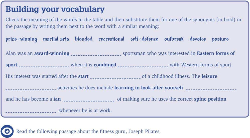 Building your vocabulary Check the meaning of the words in the table and then substitute