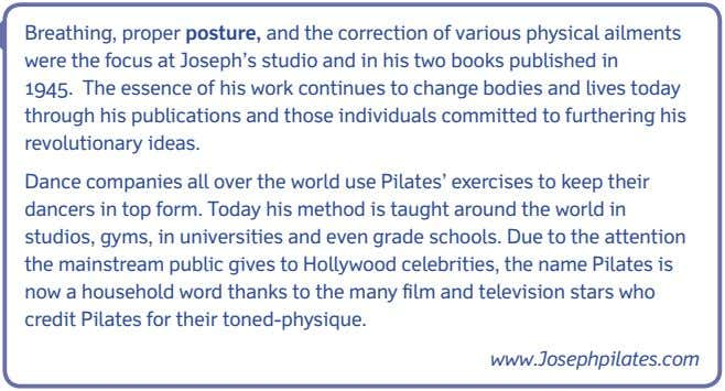 Check your understanding 1 What did Joseph Pilates' father do? 2 Why did Joseph study