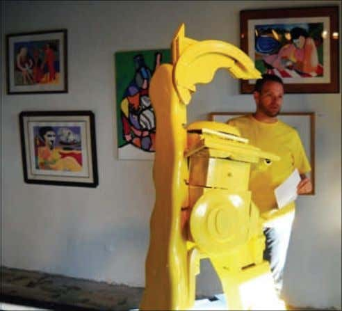 created to the sounds of music and j. Reto talks about his yellow sculpture series and