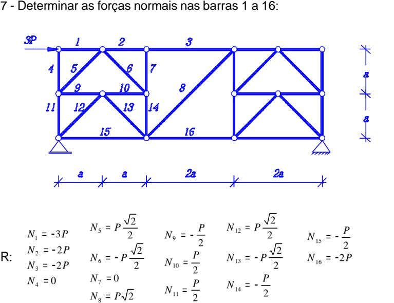 7 - Determinar as forças normais nas barras 1 a 16: 2 2 = P