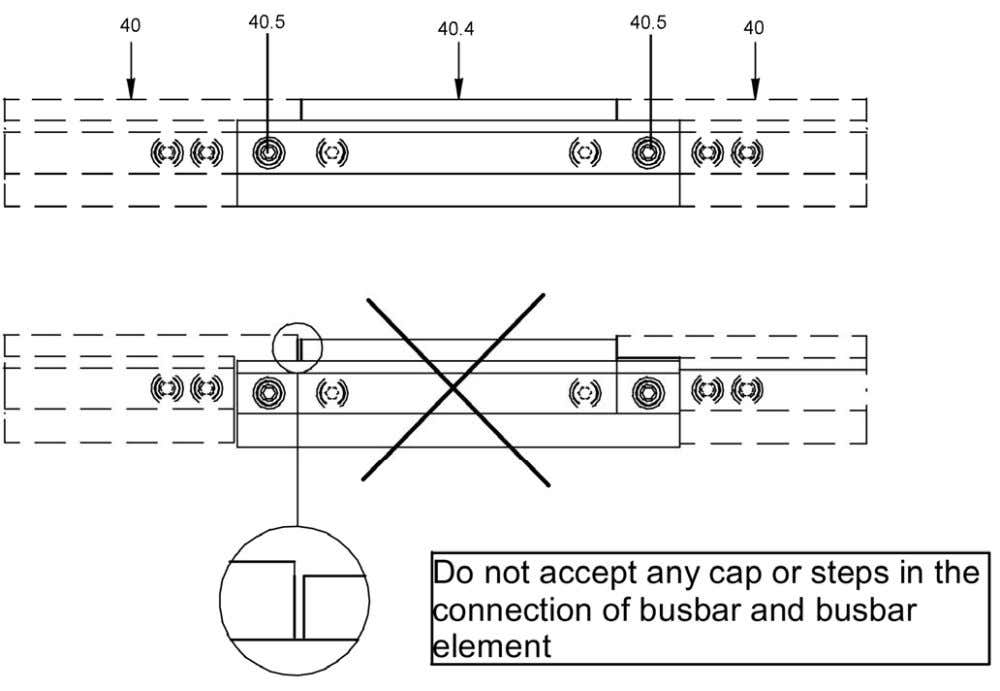 Figure 3.35 Installation of busbars between tw o cubicles (withdrawable type). Busbar endings Invariably the