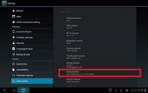 the update result, check the Build number by tapping Apps menu > Settings > About tablet
