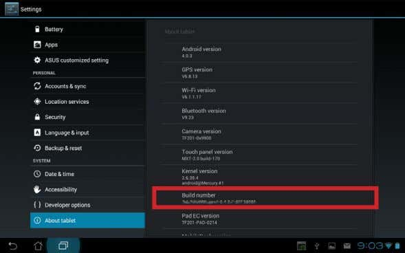 by tapping Apps menu> Settings > About tablet . 2. On the other desktop PC or