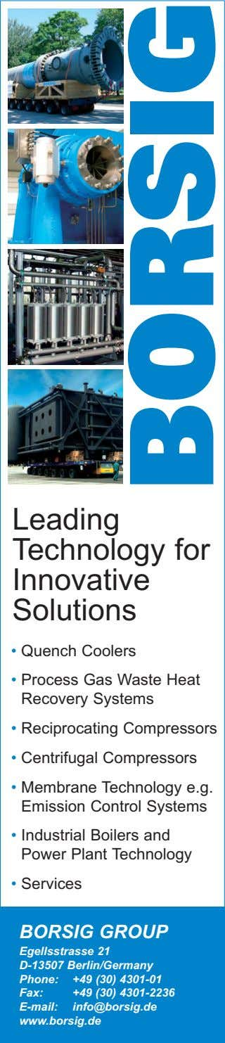 Leading Technology for Innovative Solutions • Quench Coolers • Process Gas Waste Heat Recovery Systems