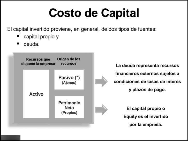 CostoCosto dede CapitalCapital El capital invertido proviene, en general, de dos tipos de fuentes: capital