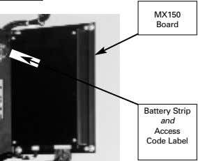 MX150 Board Battery Strip and Access Code Label