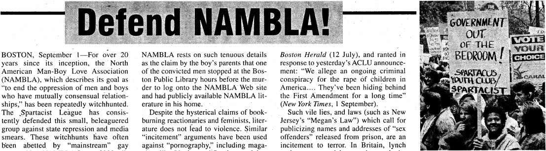 NAMBLA rests on such tenuous details as the claim by the boy's parents that one