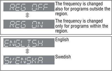 The frequency is changed also for programs outside the region. The frequency is changed only