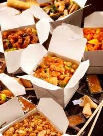 TAKE-OUT: Food is served in styrofoam or cardboard containers to take home.