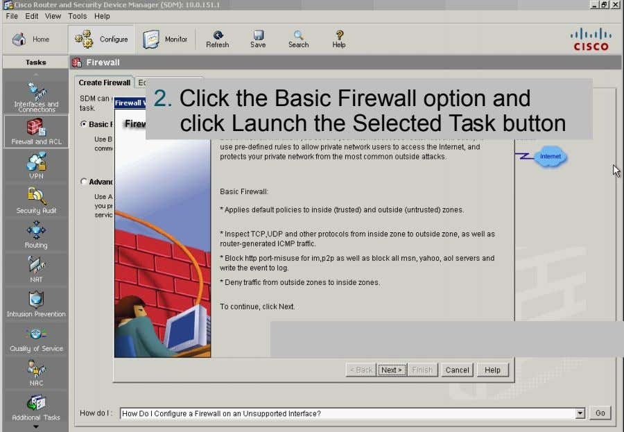 2. Click the Basic Firewall option and click Launch the Selected Task button