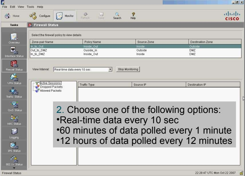 2. Choose one of the following options: •Real-time data every 10 sec •60 minutes of data