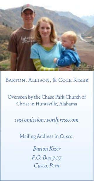 Barton, Allison, & Cole Kizer Overseen by the Chase Park Church of Christ in Huntsville,
