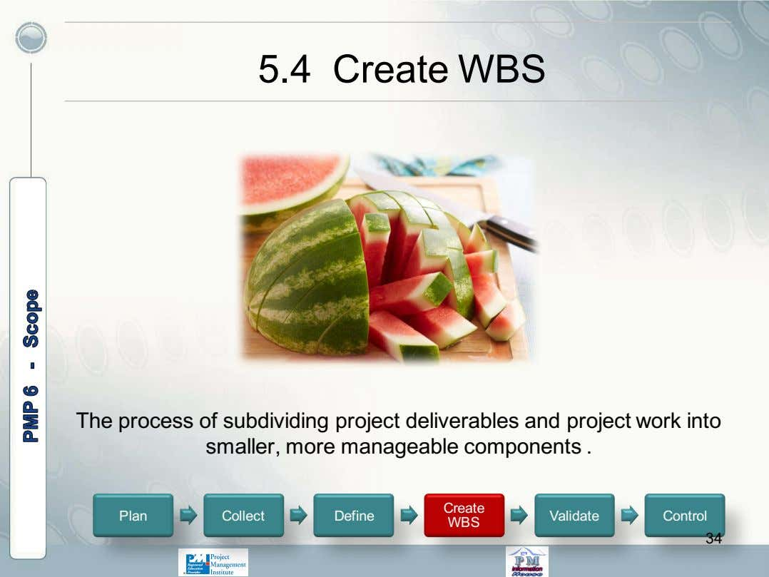 5.4 Create WBS The process of subdividing project deliverables and project work into smaller, more